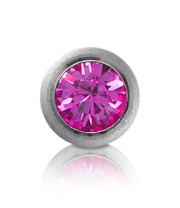 Polished Titanium Jewelled 5mm Ball (Rose)