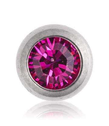 Blue Banana Polished Titanium 5mm Jewelled Ball (Fuchsia)