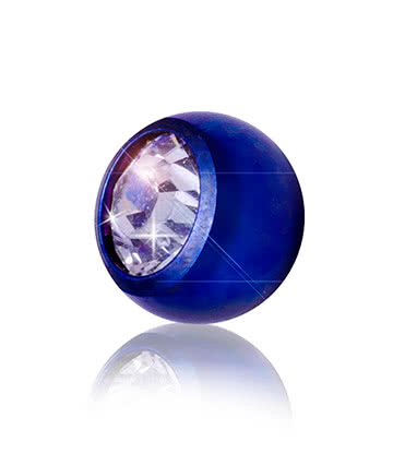 Blue Banana Coloured Titanium 5mm Jewelled Ball (Blue/Crystal)