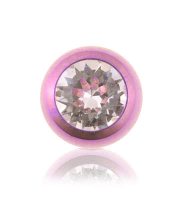 Coloured Titanium 5mm Jewelled Ball (Purple/Crystal)