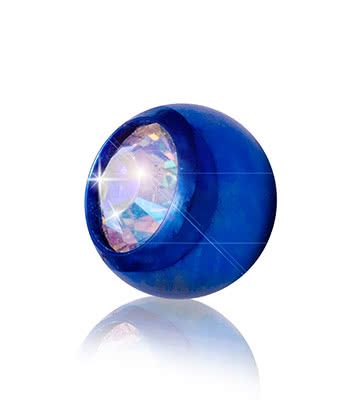 Blue Banana Coloured Titanium 5mm Jewelled Ball (Blue/Aurora Borealis)