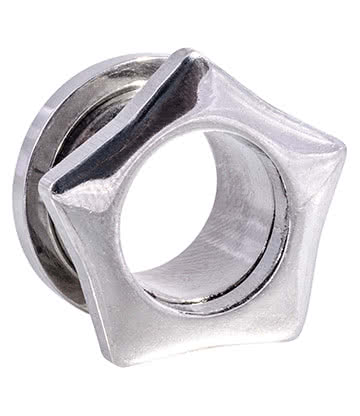 Blue Banana Surgical Steel Star Flesh Tunnel 4-14mm (Silver)