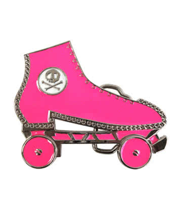 Blue Banana Roller Skate Belt Buckle (Pink)