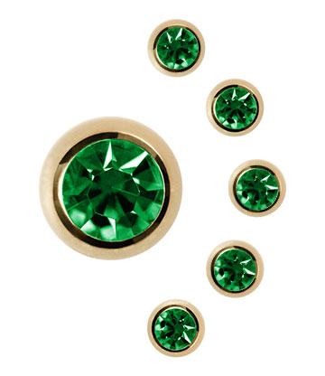 Jewelled Ball Plasma Gold 5mm (Calibro/Spessore) Blue Banana Body Piercing (Peridot)