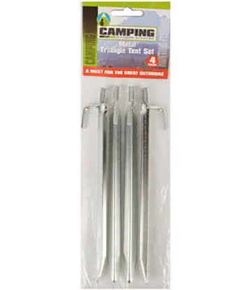 Blue Banana Pack of 4 Triangle Festival Camping Tent Pegs (Silver)