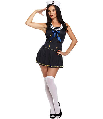 Blue Banana Halloween Sexy Sailor Fancy Dress Costume (Blue)