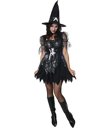 Blue Banana Halloween Wicked Spell Caster Fancy Dress Costume (Black)