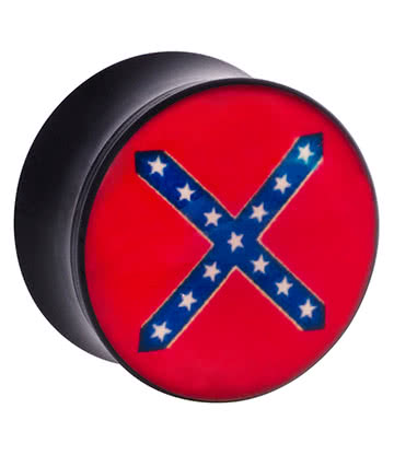 Ikon Confederate Flag Ear Plug 6-20mm (Red)