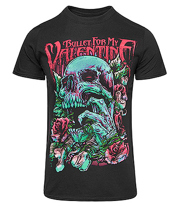 Official Bullet For My Valentine Pink Skull Eye T Shirt (Black)