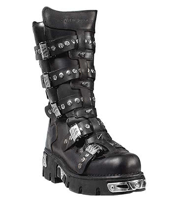 New Rock Style 134 Boots (Black/Silver)