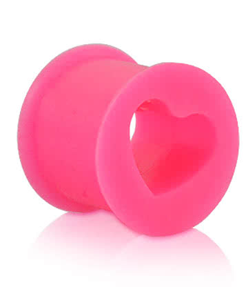 Blue Banana Silicone Heart Flesh Tunnel (Pink)