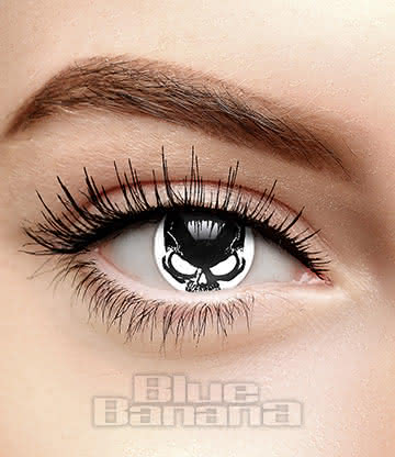 Skull 90 Day Coloured Contact Lenses (White/Black)