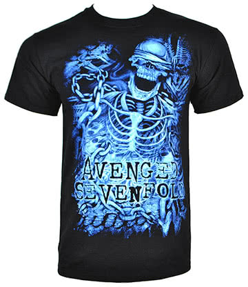 Avenged Sevenfold Chained Skeleton T Shirt (Schwarz)