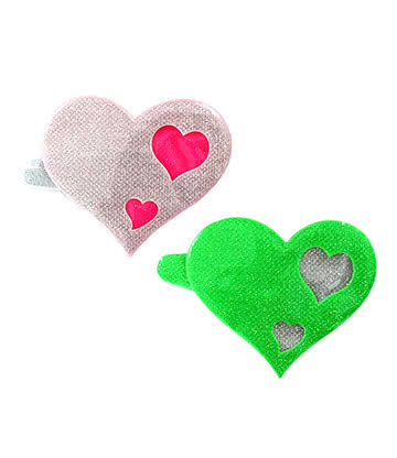 Blue Banana Heart Hair Clips (Green/Pink)