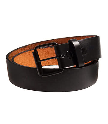 Blue Banana Leather Poppers Belt (Black)