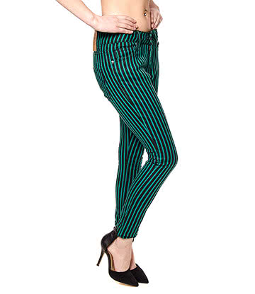 Bleeding Heart Striped Skinny Fit Jeans (Black/Green)