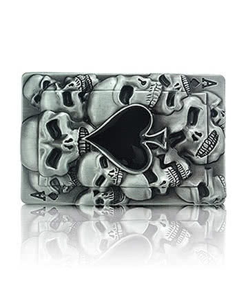 Blue Banana Ace Card & Skulls Belt Buckle (Grey)