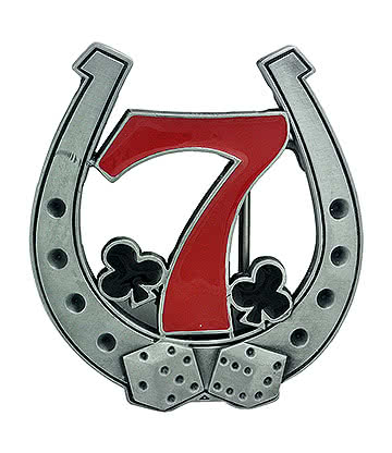 Blue Banana Lucky 7 Belt Buckle (Silver/Red)