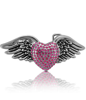 Blue Banana Jewelled Heart And Wings Boucle De Ceinture (Rose)