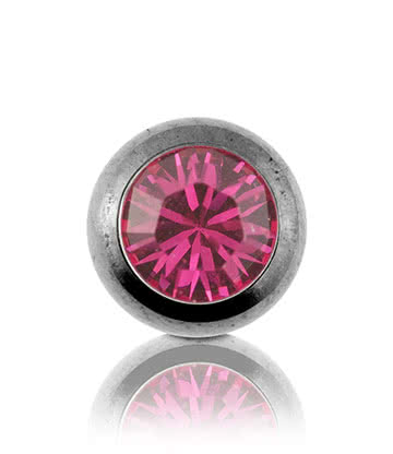 Blue Banana Surgical Steel 5mm Jewelled Ball (Fuchsia)