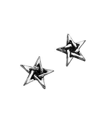 Alchemy Gothic Pentagram Stud Earrings (Silver)