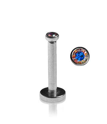 Blue Banana Surgical Steel 1.2mm Internally Threaded Jewelled Labret (Aurora Borealis)