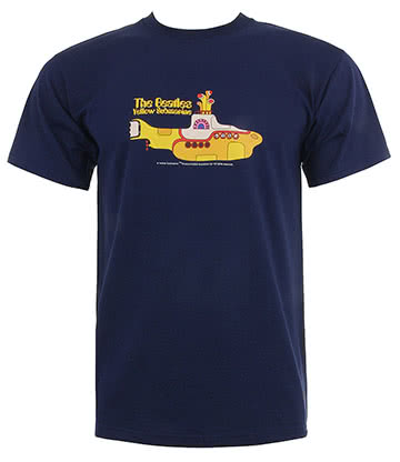 Official The Beatles Submarine T Shirt (Navy)