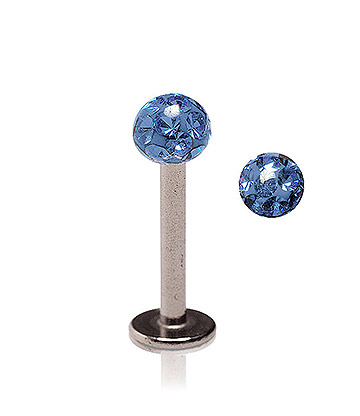 Blue Banana Body Piercing Bola con Purpurina de 1.2 x 8mm - Azul Capri