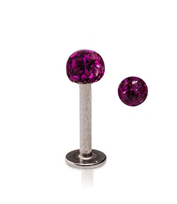 Blue Banana Surgical Steel 1.2mm Glitterball Labret (Fuchsia)
