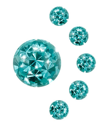 Piercing Pallina Paillettes 3mm (Calibro/Spessore) Crystal (Acquamarina)