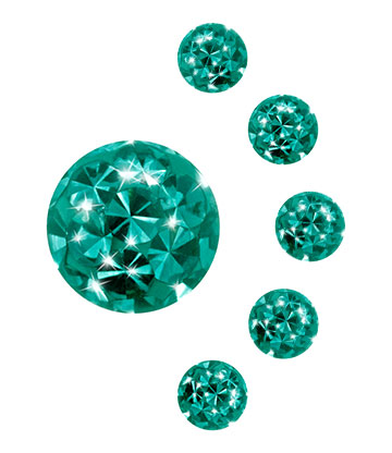 Glitter Ball Cristallo 3 mm (Calibro/Spessore) Blue Banana Body Piercing (Ziccone)