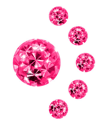 Crystal Ball Per Piercing 3mm (Calibro/Spessore) (Rosa)