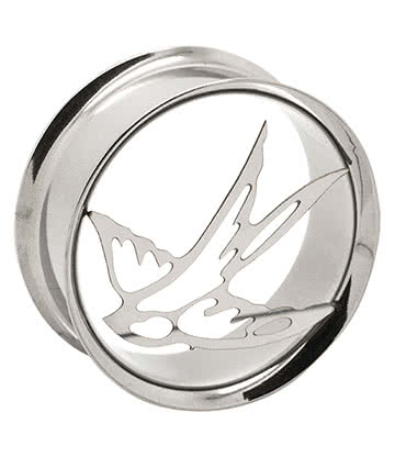 Metal Mafia Steel Swallows Flesh Tunnel 14-24mm (Silver)