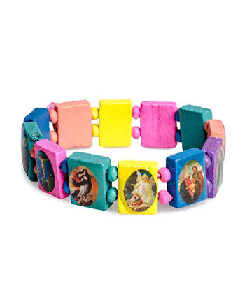 Blue Banana Coloured Wood Icon Bracelet En Bois