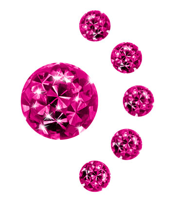 Crystal Ball Per Piercing 5mm (Calibro/Spessore) (Fucsia)
