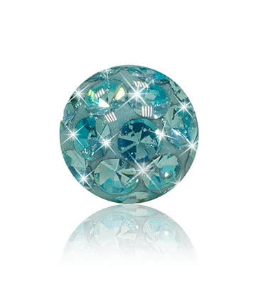 Blue Banana Surgical Steel 5mm Jewelled Glitter Ball (Aqua)