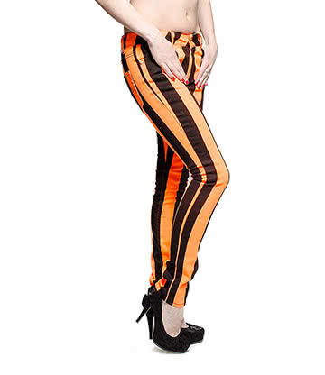Bleeding Heart Ultra Skinny Striped Jeans (UV Orange)