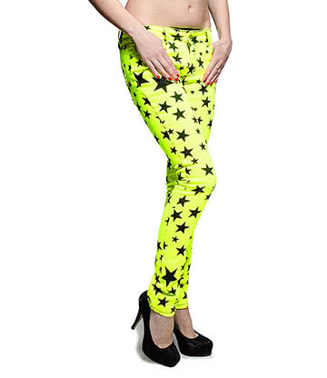 Bleeding Heart Ultra Skinny Stars Jeans (UV Lemon)