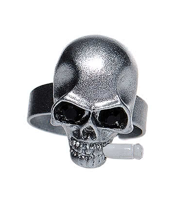 Blue Banana Skull & Cigarette Ring (Silver)