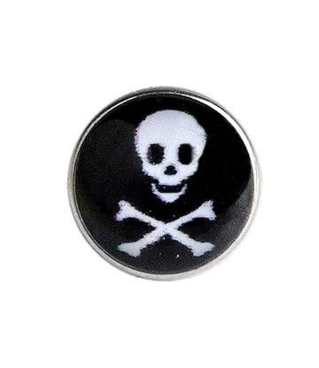 Blue Banana Surgical Steel 5mm Skull Dermal Top (Black)