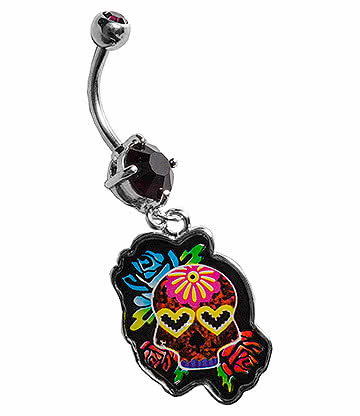 Blue Banana Surgical Steel 1.6mm Sugar Skull Heart Eyes Navel Bar (Garnet)
