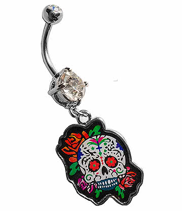 Blue Banana Surgical Steel 1.6mm Sugar Skull Navel Bar (Red)