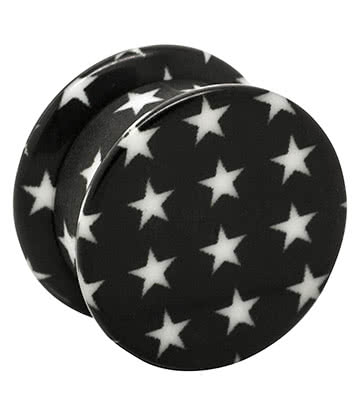 Blue Banana Acrylic Stars Stash Ear Plug 10-18mm (Black)