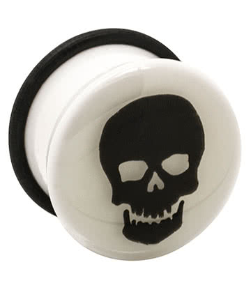 Blue Banana Acrylic Glow Skull Ear Plug 6-24mm (White)
