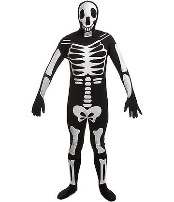 Rubies 2nd Skin Glow In The Dark Skeleton Jumpsuit (Black)