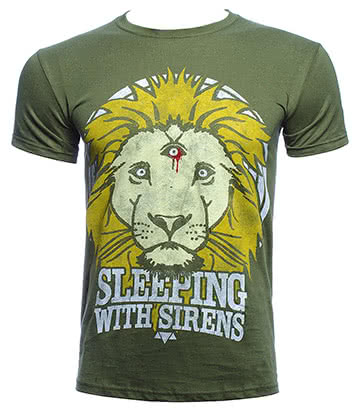 Official Sleeping With Sirens Lion Crest T Shirt (Green)