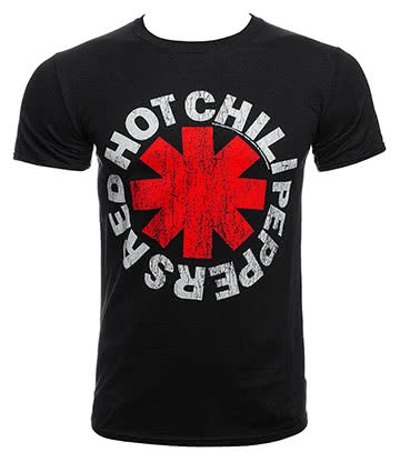 Red Hot Chili Peppers Distressed Asterisks T Shirt (Schwarz)