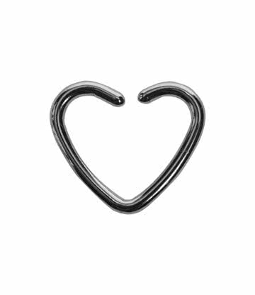 Blue Banana Surgical Steel 1.2mm Daith Heart Ring (Silver)