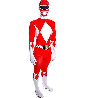 Rubies Second Skin Power Rangers Jumpsuit (Red/White)