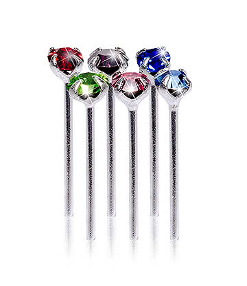 Blue Banana Silver 0.5 x 10 x 1.8mm Multicoloured Jewelled Nose Studs (Pack of 6)